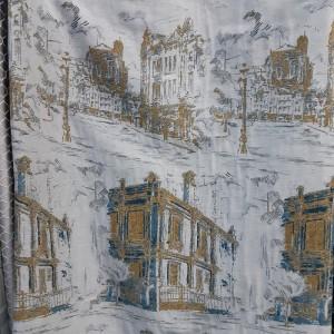 Ткань портьерная Жаккард 425-5 купон Город, серый
