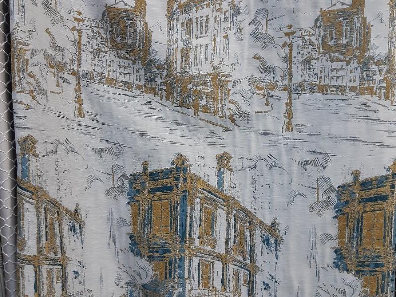 Ткань портьерная Жаккард 425-5 с рисунком Город, цвет серый