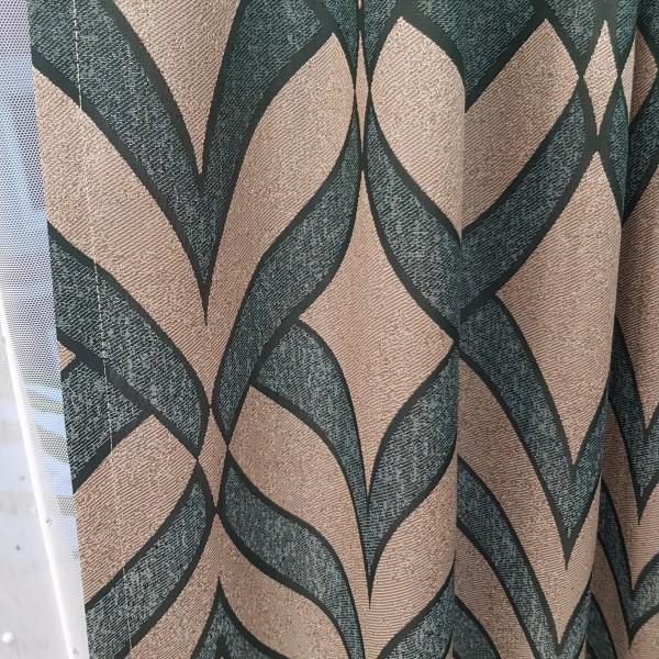Ткань портьерная Жаккард, изумрудный-бежевый