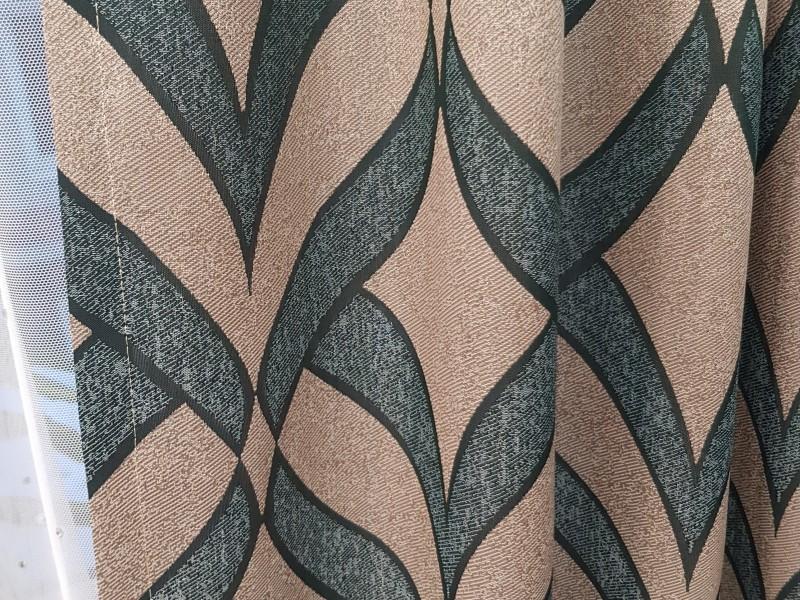Ткань портьерная Жаккард с рисунком, цвет изумрудный-бежевый