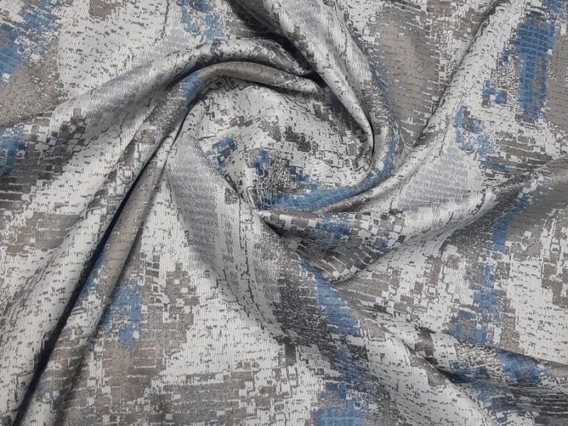 Ткань портьерная Жаккард с рисунком, цвет синий-серый