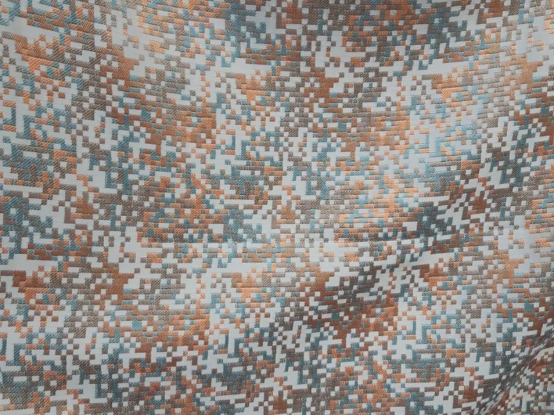 Ткань портьерная Жаккард Мозаика, цвет бирюзовый-терракотовый