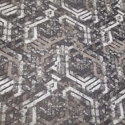 Ткань портьерная Жаккард гометрия, светло-коричневый, 25.1.