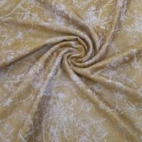 Ткань портьерная Жаккард с рисунком, цвет лимонный (горчичный)