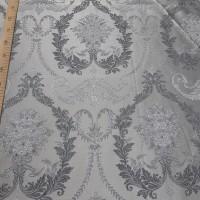 Ткань портьерная Жаккард с рисунком Вензель, цвет серый