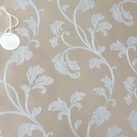 Ткань портьерная Жаккард с рисунком Вензель, цвет коричневый