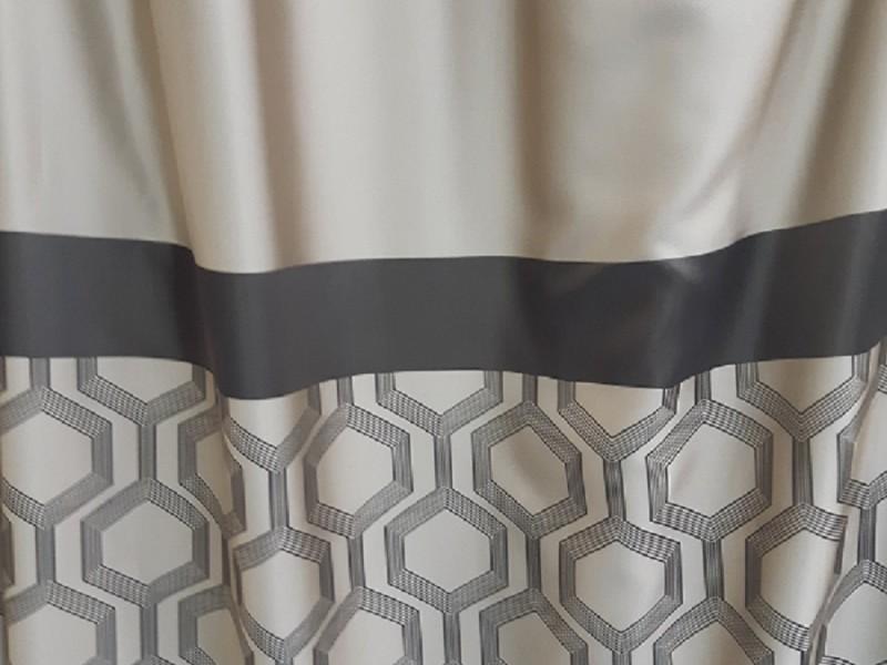Ткань портьерная Жаккард  Купон, цвет коричневый-бежевый