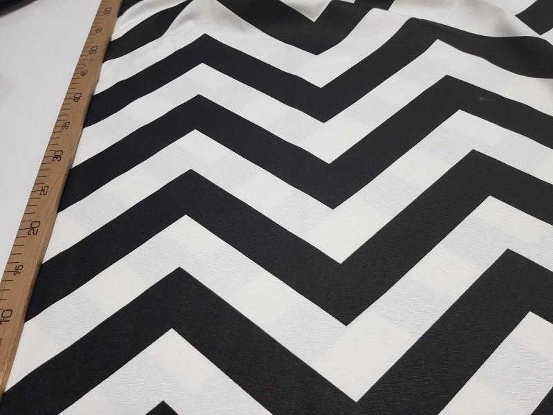 Ткань портьерная Черно-белый Зигзаг