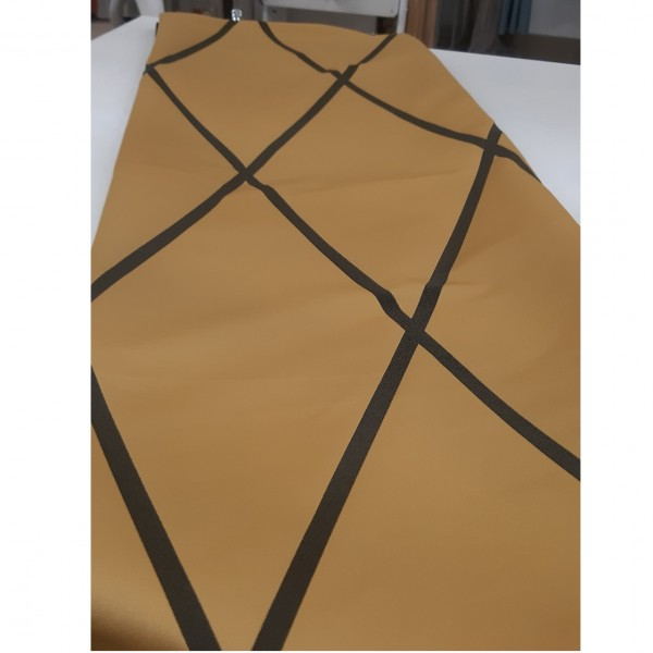 Ткань портьерная Жаккард Геометрия, горчичный, шир. 1.4 м. / ост. 2.43 м.