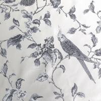 Ткань портьерная Жаккард с рисунком Птички, цвета синий-серый
