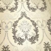 Ткань портьерная Жаккард с рисунком Вензель, цвет бежевый-коричневый