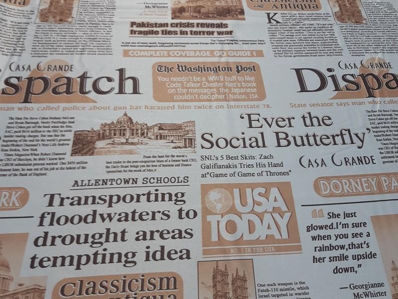 Блэкаут с рисунком печать Газета