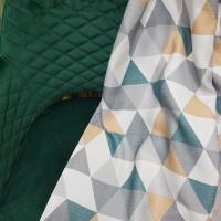 Ткань блэкаут с рисунком Треугольники, цвет изумрудный