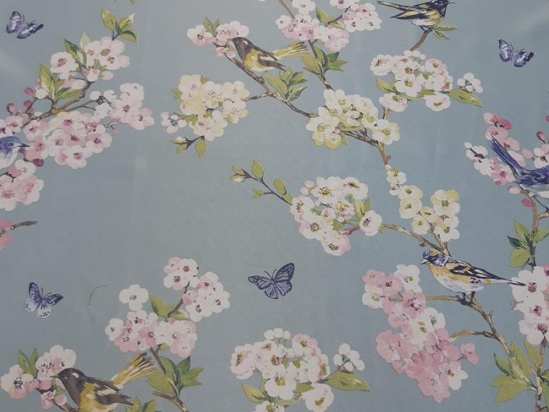 Блэкаут голубой с рисунком Птички