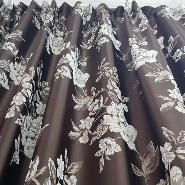 Портьера жаккард коричневые цветы