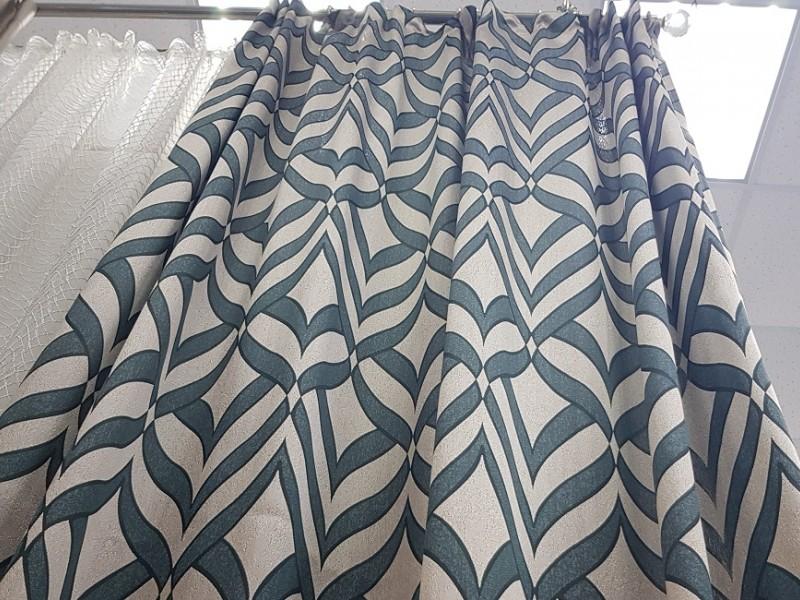 Готовые шторы - Портьера Ромбы зеленые