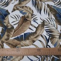 Ткань портьерная хлопок, Сине-коричневые листья.