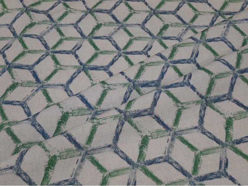 Ткань портьерная хлопок, геометрия печать, h-2,8 м.