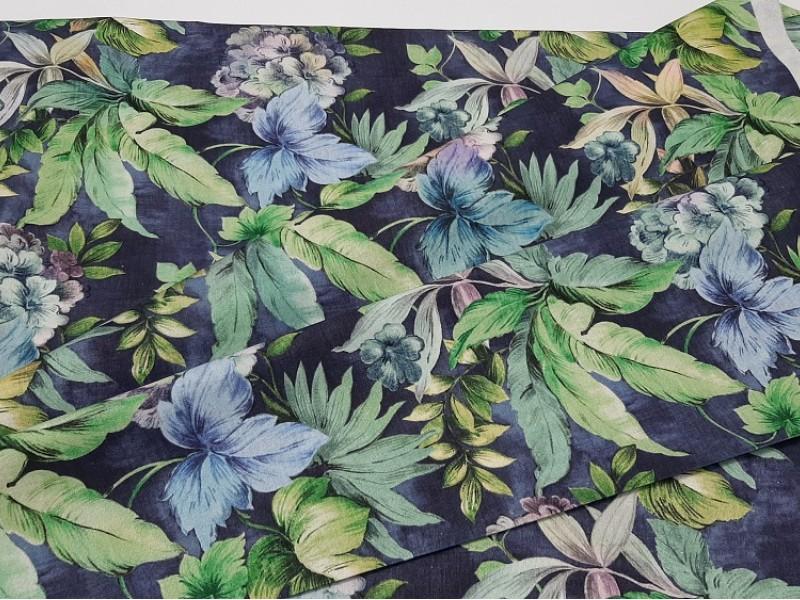 Ткань портьерная хлопок, Цветы печать, h-2,8 м.