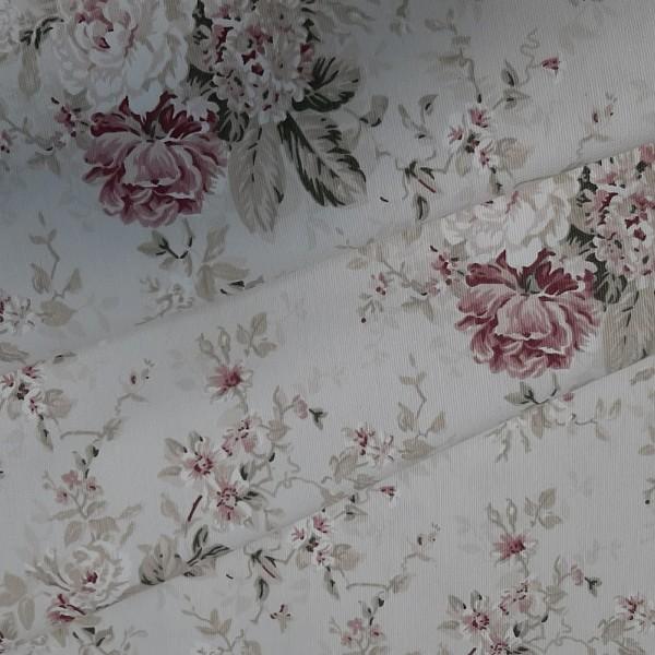 Ткань портьерная хлопок, белая с розами.