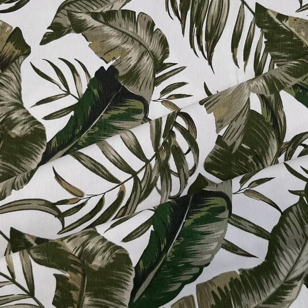 Ткань портьерная хлопок, Зеленые листья.