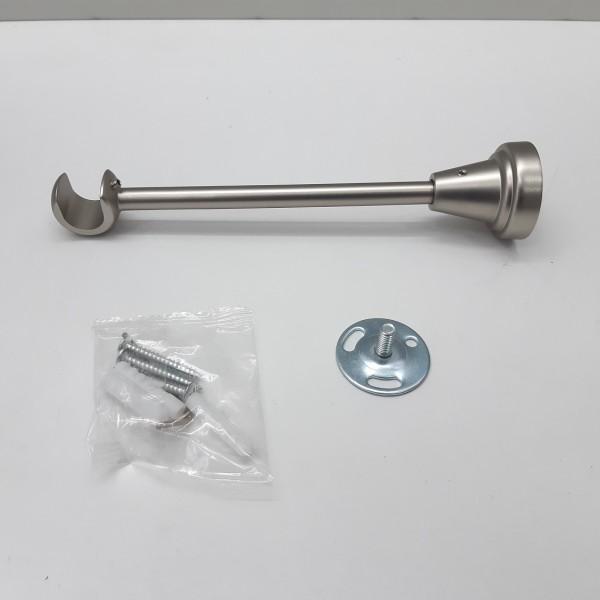 Кронштейн одинарный открытый д.16 мм, L-180 мм, матовое серебро (сатин)