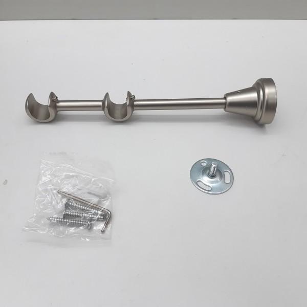 Кронштейн двойной открытый д.16 мм, L-130, 200 мм, матовое серебро (сатин)