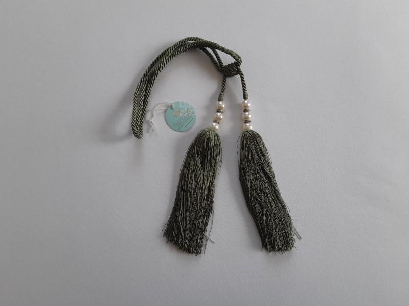 Кисть для штор, зеленая с жемчугом. 12