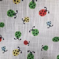 Ткань для штор лен с рисунком божья коровка в детскую, ширина 150 см.
