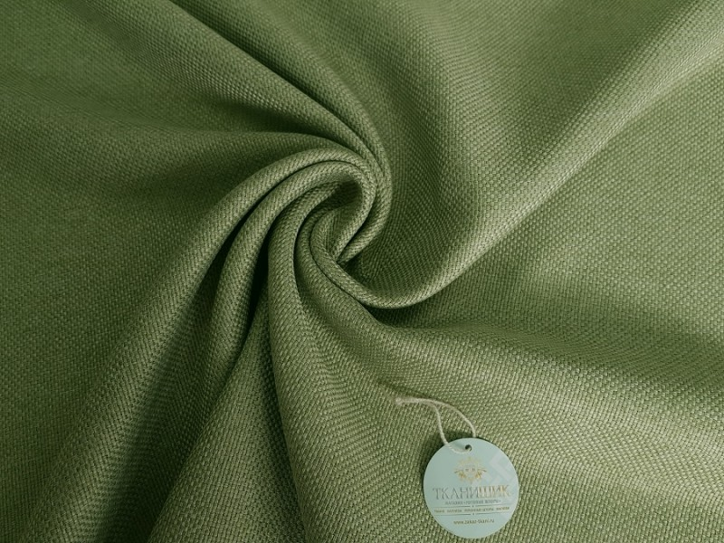 Лен рогожка блэкаут зеленый