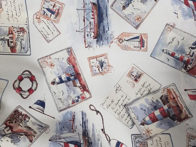 Ткань для штор лен с рисунком кораблики в детскую