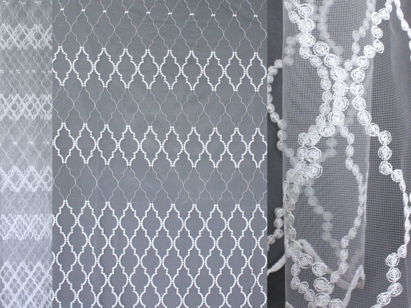 Сетка вышивка, цвет белый
