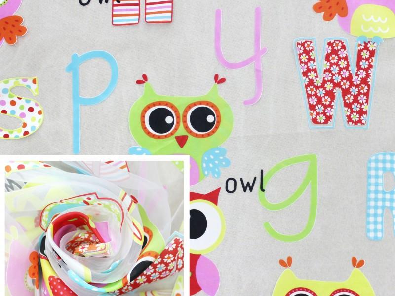 Ткань органза деворе для детской комнаты с рисунком Совы