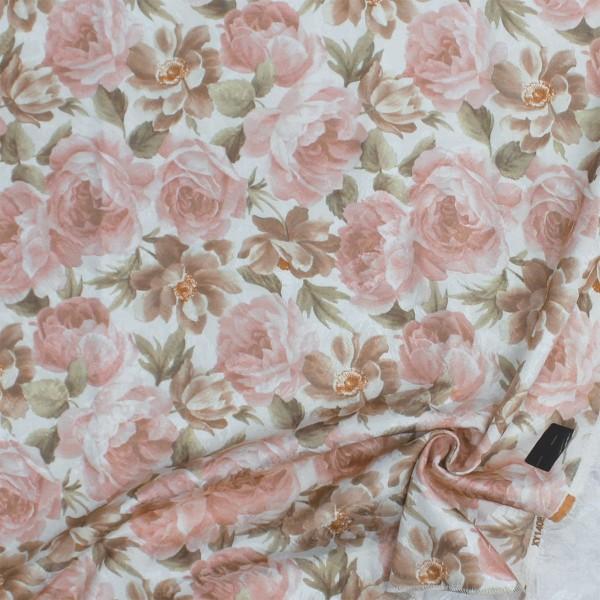 Ткань портьерная Жаккард Цветы, персиковый