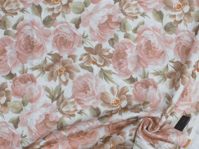 Ткань портьерная Жаккард с рисунком Цветы, цвет персиковый