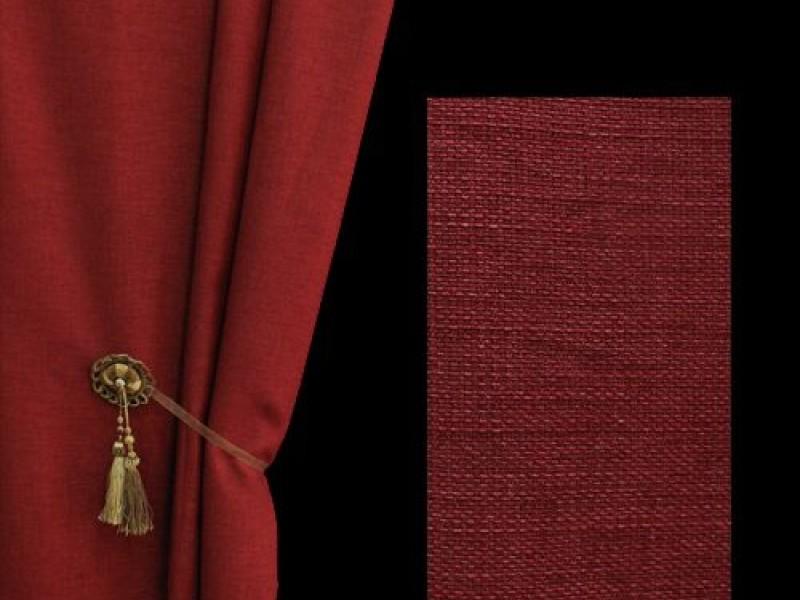 Ткань для штор лён, цвет бордовый