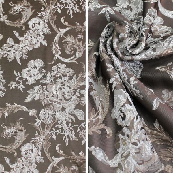 Ткань портьерная Жаккард, коричневый