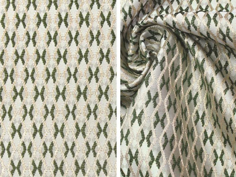 Ткань портьерная Жаккард с рисунком, цвет зеленый