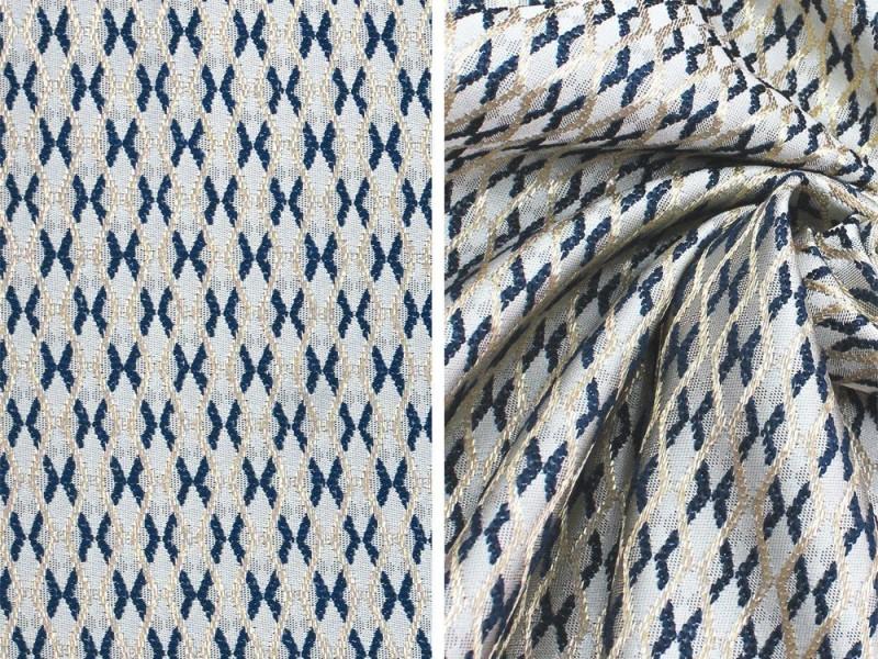 Ткань портьерная Жаккард с рисунком, цвет синий