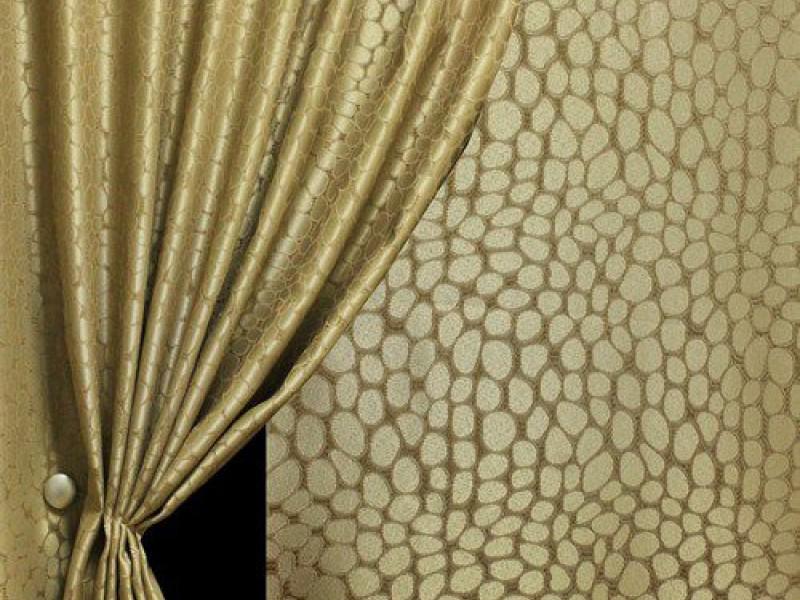 Портьера жаккард с рисунком Рептилия, цвет бежевый