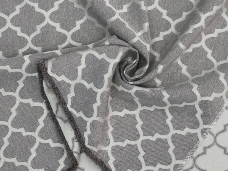 Ткань портьерная Жаккард с рисунком Геометрия, цвет бежевый