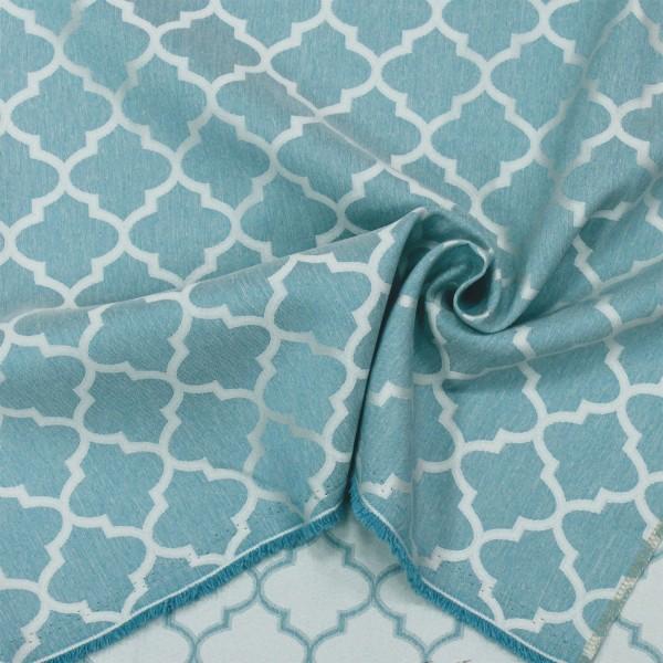 Ткань портьерная Жаккард Геометрия, бирюзовый / остаток 0.6; 0.7; 0.9 м.