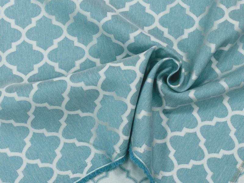 Ткань портьерная Жаккард с рисунком Геометрия, цвет бирюзовый, остаток 0.6; 0.7; 0.9 м.