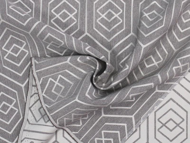 Портьера жаккард с рисунком, цвет серый