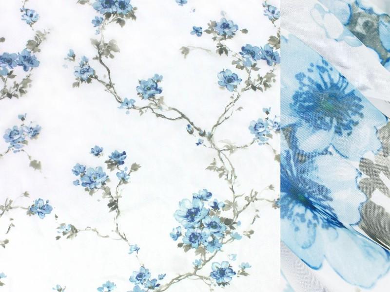 Вуаль печать, цвет голубой