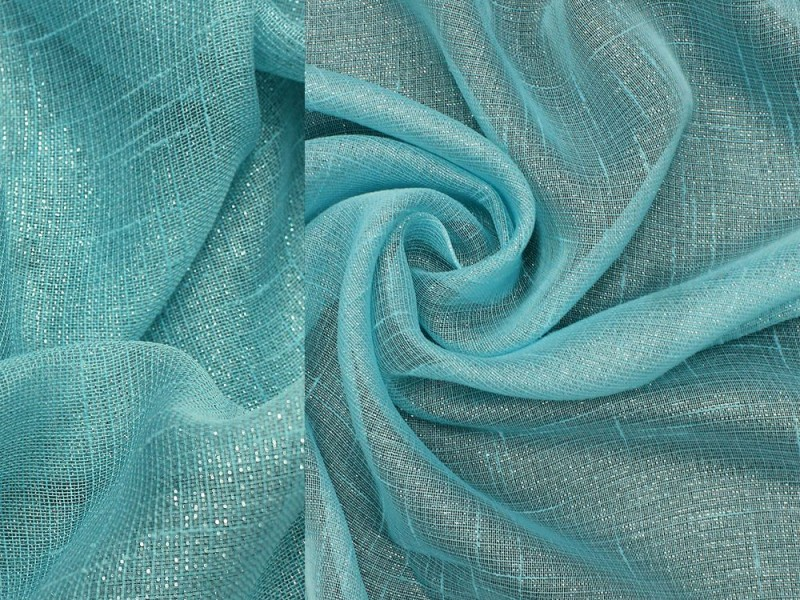 Лен тюль, цвет бирюзовый