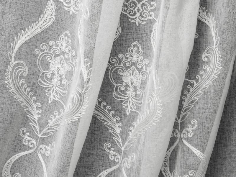 Лён вышивка 627, цвет белый, 280 см