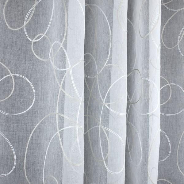 Лен вышивка 280 см - L5929-2 белый бежевый