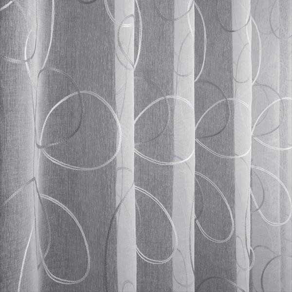 Лен вышивка 280 см - L5929-2 белый стальной