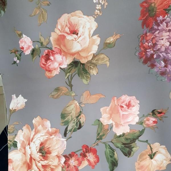 Блэкаут Цветы, графитовый